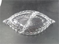 American Fostoria Cubed Clear Glass Relish Tray
