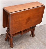 Small Gateleg  Drop-Leaf Wood Side Table