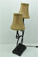 Wrought Iron Table Lamp 2 Lights w/Shades