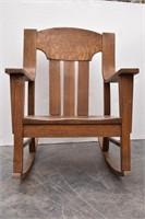 Oak Slat Back Oversized Rocking Chair