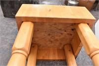 Large Square Heavy Butcher Block Table on Castors
