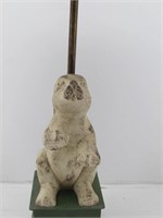 Painted Carved Wood Bunny Rabbit Table Lamp