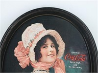 """(1914) """"Betty Girl"""" Drink Coca-Cola Oval Tray"""