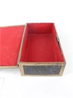 Vtg. Painted Box with Metal Trim & Metal Handles