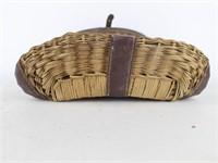 Woven Wicker Fishing Creel w Leather Strap