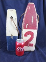 Hand Carved & Painted Wooden Decor Buoys
