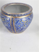 (5) Pc Set of Chinese Asian Blue & Gold Pottery