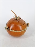 (3) Carved Gourds Decorated w/Pine Cones & Nuts