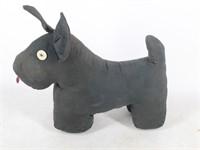 Black Cloth Scotty Dog Baby Rattle w/Button Eyes