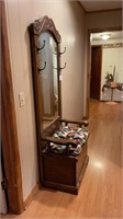 Mirrored Hall Tree with Storage Seat