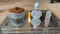 Mirror Tray with Milk Glass Bottles