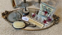 Vintage Tray with Mirror, Comb, Brush, etc.
