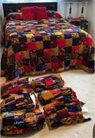 Velvet Quilted Bedspread and Drapes