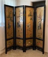 Asian Chinoiserie 4-Panel Screen