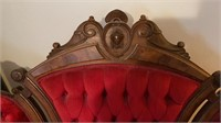 Antique Red Velvet Love Seat