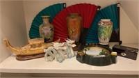 Asian Decor Vases, Dragons, Ashtray, etc.
