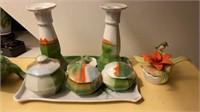Porcelain Tray Set, Frog, etc.