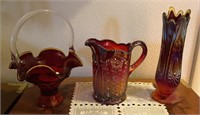 Red Carnival Glass Pitcher, Vase, Basket