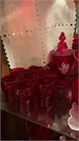 Red Glass Plates, Cake Stand, Cups, etc.