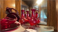 Red Glass Decanters, Dish, Tumblers, etc.