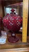 Red Cut Glass Candy Dishes, Vase, Juice Set, etc.