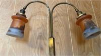 Brass Lamp w/ Handpainted Shades
