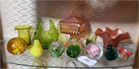 Carnival Glass, Paper Weights, Birds, etc.