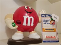 Red M&M Candy Dispenser & Magnets