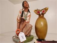 Native American Statue, Glass Owl, Fish Dish