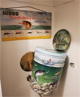 Fishing Lures Sign, Tin, Round Wall Art