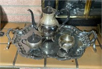 Silver Tray and Tea Set