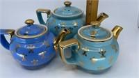 3 - Hall Teapots, Blue