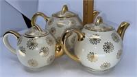 3 - Hall Teapots, White