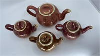 4- Hall Teapots, Rose and Brown