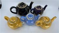 5 - Hall Teapots, Yellow, Black, & Blue