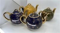 4 - Hall Teapots, Pink & Navy Green