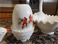 5-pc. Hand-painted Fenton Glassware