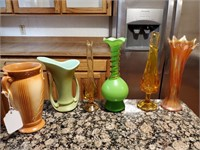 Vintage Green and Orange Vases