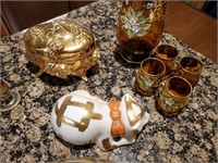Hand-painted Amber and Gold Glassware