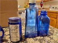 Vintage Cobalt Blue Bottles