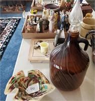 Vintage Brown Glass Decanter & Arrowhead Dish