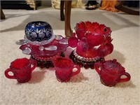 Blue Crystal and Red Glassware