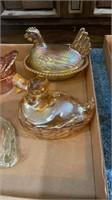 Carnival Glass, Hens & Ducks
