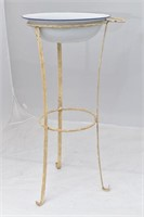 Metal Wash Basin Stand w/Enamelware Bowl