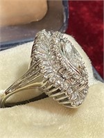 14K White Gold and Diamond Ballerina Style Ring