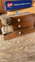 WOODEN BOX WITH THREE DRAWERS