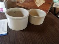 C 1 1/2 AND C 2 SMALL CROCKS, ANTIQUE WOOD BOX,