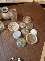 VINTAGE GLASS JAR TOPS, SILVERWARE AND MEASURING