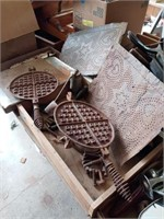 VINTAGE WAFFLE IRON, OIL CAN AND MISC