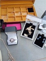 MISC COSTUME JEWELRY AND BOX
